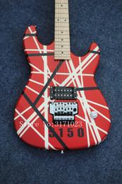Wholesale Floyd Rose White - Custom Rare Guitar Edward Van Halen 5150 Black White Stripe Red Electric Guitar Floyd Rose Tremolo Bridge Top Selling