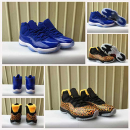 Wholesale Fall Patterns - New Air Retro 11 Men Women Basketball Shoes Retro 11s Royal Blue White Black Leopard Pattern New Athletic Sports Trainers Sneakers With Box