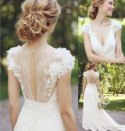 Wholesale Chiffon Pleated Skirt Short Long - 2018 Spring Sheer Wedding Dresses A Line V Neck Pleats Illusion Back with Appliques Summer Chiffon Skirt Wedding Bridal Gowns