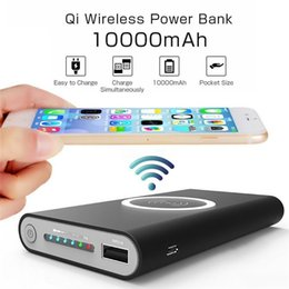 Wholesale Mobile Charger Bank - 10000 mAh Hot sell Wireless Charger Power Bank for iphone 7 8 X samsung galaxy s7 s8 Portable Powerbank Mobile Phone Charger