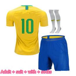 Uniformes amarelos on-line-Adulto 18/19 kits de futebol meias 2018 copa do mundo kits de futebol COUTINHO G. JESUS equipe nacional de futebol amarelo ternos uniformes de futebol