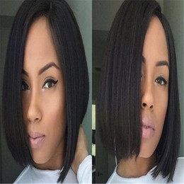 long hair bobs Coupons - 130%or150% density Bob lace Front wigs Silky Straight Brazilian Human Hair Pre Plucked Natural Hairline full Lace human hair wigs