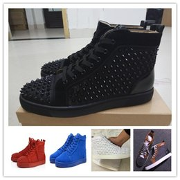 Wholesale party toes - Original shoebox Brand Studded Spikes Flats shoes Red Bottom Shoes For Men and Women Party Lovers Genuine Leather Sneakers size 36-47