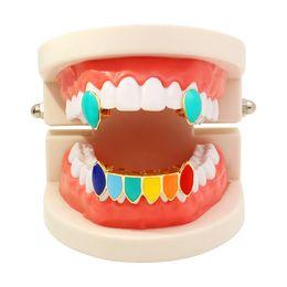хип-хоп красочные grillz реальные позолоченные стоматологические грили рэппер роскошный золотой ювелирные изделия тела красный темно-синий желтый небо синий оранжевый Павлин синий от