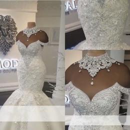Wholesale Rhinestone Mermaid Trumpet Wedding Dress - Dubai Arabic Vestidos De Noiva Luxury Mermaid Wedding Dresses 2018 Jewel Neck Crystal Beads Rhinestone Bridal Gowns Wedding Dress Custom