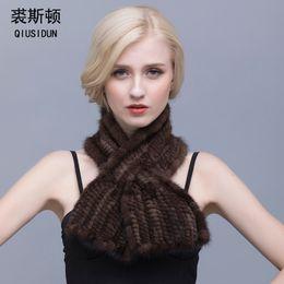 Wholesale Mink Scarfs - QIUSIDUN Real Fur Scarf Winter Women's Warm Mink Knitted Scarf Female Fashion Fur Collar Man's Black Scarfs Female Fashion