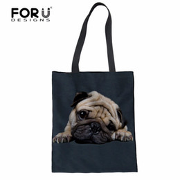 FORUDESIGNS Pug Dog Pattern Canvas Shopping Bags Borsa a tracolla pieghevole riutilizzabile Borsa da donna Tote Cotton Student Book Bag