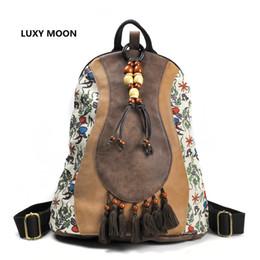 Wholesale Tibetan Bags - Chinese style Retro Design PU Leather Patchwork Women Backpacks Tassel Ethnic Floral Print Tibetan Travel Wood Bead Boho Bag A37