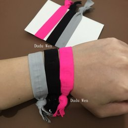 Wholesale Fashion Elastic Hair Bands - 6pcs lot (2 packs) New shining color 2C fashion symbol elastic hair ties with Knot Luxury band hair rope bracelets accessories VIP gift