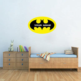 Wholesale boys name wall decals - Batman Customized Name Vinyl Wall Decals,Personalized Wall Sticker With Boys Name For Kids Room Decoration