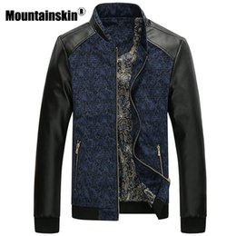 Wholesale Men Leather Jackets Slim Fit - Mountainskin PU Leather Patchwork Men's Jackets 4XL Autumn Fashion Coats Men Outerwear Stand Collar Male Clothing Slim Fit SA332