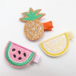 Wholesale Hair Cut Clips - 15pcs Lot Pre Cut Felt Embellishments Glitter Embroidery Pineapple Clips Cartoon Lemon Tropical Fruits Barrette Watermelon Headwear