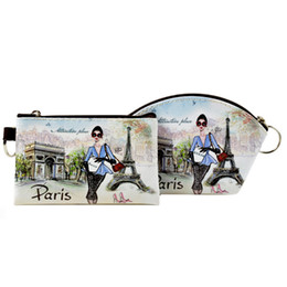 Wholesale beautiful woman paintings - XYDYY Paris Oil Painting Women Coin Purses Beautiful Girls Arc Square Mini PU Wallet ID Card Holder Small Change Bag Handbag