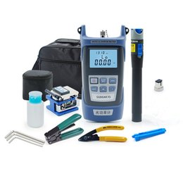 Wholesale fc fiber optic - FTTH Fiber Optic Tool Kit with Medidor Fibra Optic and Visual Fault Locator and Cable Cutter Wire Stripper FC-6S Fiber Cleaver