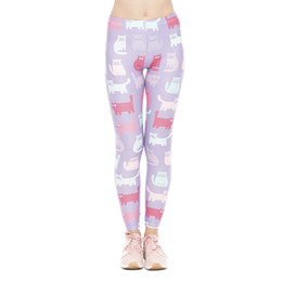 animal print leggings Promo Codes - Lady Leggings Pink And Mint Cats 3D  Print Women Skinny 4b0f30606