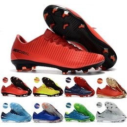 Wholesale Cr7 White Indoor Shoes - 2018 Mens Low Ankle Football Boots CR7 Mercurial Vapor XI FG indoor Soccer Shoes Superfly V Soccer Cleats boots