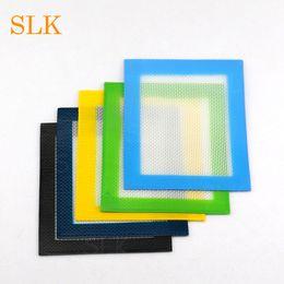 Almofadas de silicone vermelho on-line-Azul Amarelo Verde Vermelho Preto não-stick de silicone dab mat impressão personalizada logo quadrado tapetes 14 * 11.5 almofadas de cera EXW Frete grátis