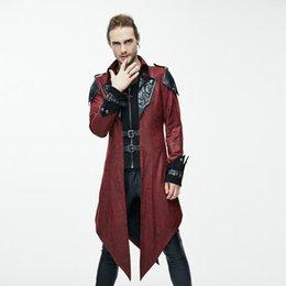 Chaqueta de masters online-Custom Dark Master Mage Wizard chaqueta larga de Halloween de los hombres traje de cosplay Gothic style coat Prom traje de noche gabardina