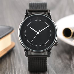 Wholesale Clock Pointer - Modern Black Fashion Men Quartz Wristwatch White Pointers High Quality Simple Casual Watch for Men's Clock Hour Gifts Hook Buckle