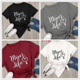 Wholesale Casual Life - 4 Colors Women Mom Life Heart V Neck T-Shirt Women Casual Letter Printed Short Sleeve T-Shirt Summer Streetwear Tee Tops CCA8987 10pcs