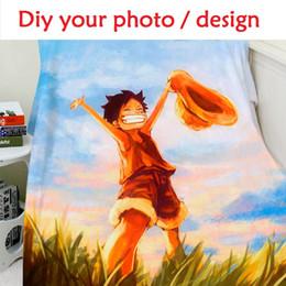 Wholesale Blanket Custom - Blanket Custom Photo 150x200cm Flannel Fleece Fabric Blanket Anime One Piece Sofa Bed Throw Kid Adult Warm