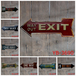 Wholesale Food Paint - Arrow Shape Tin Sign Exit Way Out Coffee Iron Paintings Restaurant Fresh Sea Food Free Beer 45X16cm Tin Poster 9 99ljc B