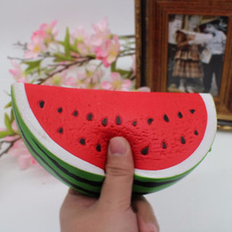 Wholesale Kid Stretch - Watermelon Squishy Kawaii 14.5cm Jumbo Decoration Super Slow Rising Toy Squeeze Soft Stretch Scented Bread Cake Fruit Fun Kids Toys Gift