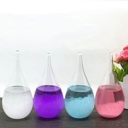 Wholesale Feng Shui Wealth - Storm Glass Desktop Drops Weather Glass Weather Forecast Bottle Crystal Tempo Water Drop Globes Creative Storm Glass Craft Arts Gifts XL-429