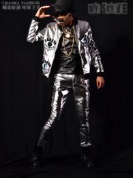 Man han edition de la nouvelle boutique personnalité ancre barre chanteur costumes de scène costume de danse argent lunettes mosaïque veste de baseball M - 2 xl ? partir de fabricateur