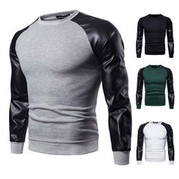 Lange t-shirts leder männer online-Herbst-beiläufige Männer Slim Fit O Neck PU-Leder Spliced Beflockung Langarm Muscle T-Shirt Casual Tops Bluse M-3XL