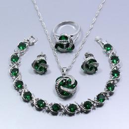 Ucuz Yeşil Oluşturulan Zümrüt 925 Ayar Gümüş Kadın Dört Adet Takı Seti Küpe Yüzük Kolye Kolye Bilezik Hediye Z58 nereden