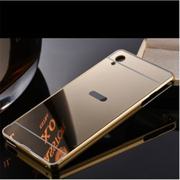 Wholesale M5 Phones - Fashion Phone Case Cover for Sony Z2 Z3 Z4 Z5 Plated Mirror Case Xperia XA Metal Frame Back Cover Sony M5 Case XA Ultra 4 colors 7 models