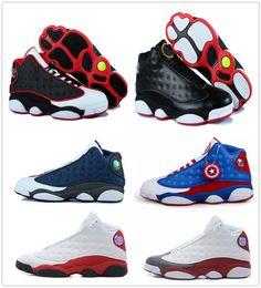 free shipping 28e33 67033 Barato 2018 zapatos de alta calidad 13 XIII 13s zapatos de hombre mujer  Bred negro marrón blanco holograma pedernal gris deportes zapatillas de  deporte ...