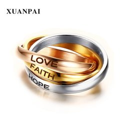 hope rings Promo Codes - XUANPAI Triple Circles Gold Rose Gold Sier Color Women's Wedding Ring Three Tones Love Faith Hope Promise Finger Ring