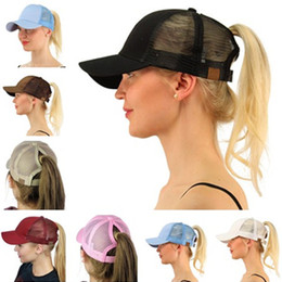 Wholesale Mens Tails - new womens mens summer caps mesh baseball cap fashion snapbacks Women Men Girl snapback hats ponytail Pony Tail Sun hat casquette wholesale