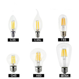 Wholesale Clear Globe Led - Dimmable led bulbs Filament bulb 4w 8w 12w 16w High Power Glass globe bulb 110V 220V 240V Retro led Edison lamp candle lights