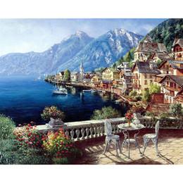 2019 peintures tulipes abstraites Peinture de bricolage par numéros Harbour Village Dessin avec des pinceaux Peinture pour adultes Niveau débutant 40x50cm (16 * 20 pouces) 3 Styles Select