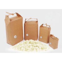 Sac à main kraft en Ligne-Sacs de cadeau de riz de papier de riz de Kraft emballent des biscuits de nourriture Boîte de paquet de thé de fruit sec avec la poignée