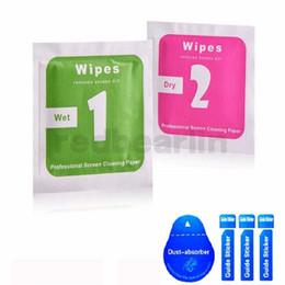 Tampon absorbant en Ligne-Lingettes sèches-humides pour iphone Samsung Ipad Trempé Protecteurs d'écran en verre Accessoires alcool Pad Mobile écran chiffon de nettoyage absorbeur de poussière