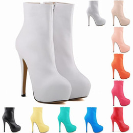 Уличная обувь Белые туфли Имитация кожи супер высокий каблук для похудения с круглой головой короткие трубки женские сапоги A125 cheap white simulation shoes от Поставщики белая симуляторная обувь