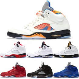 2019 voos baratos Nike Air Jordan 5 Mens 5 5 s tênis de basquete internacional de vôo azul camurça olímpica og metálico preto branco fogo de cimento vermelho barato sapatilha esporte tamanho 41-47 desconto voos baratos