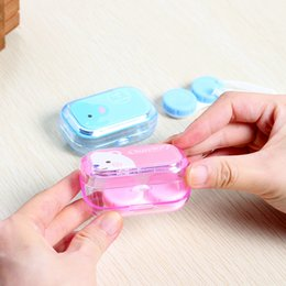 Wholesale Orange Contacts - XUNZHE Fashion Women Contact Lenses Storage Box Cute Contact lens Case Box Eyes Care Kit Holder Travel Washer Cleaner Container