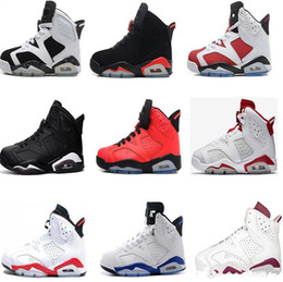 Wholesale Leather Shoes For Girls - 2018 Children 6 Basketball shoes for Boys Girls ReTro Infrared Carmine 6s UNC Toro Hare Oreo Maroon Youth Sports Sneakers Kids size EU28-35