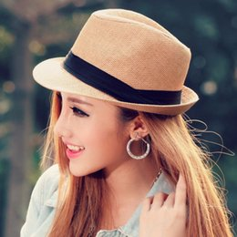 c26f03e5ed16e Fashion Summer Beach Women Hat Brim Ladies Sun Hat Casual Panama Straw Men Cap  Sun Visor Cap Male Sombrero Chapeau Femme