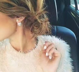 Wholesale gold plated hoops - Double Stud Earrings Before And After The Size Of The Pearl Personality D Luxury Jewelry,Bubble earrings with box