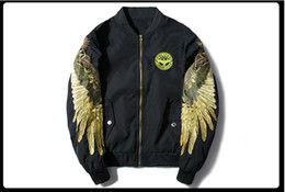 Wholesale Jacket Winged Sleeves - New Fashion Women and Men Casual Coat locomotive embroidery Jacket Golden wing embroidery Students Baseball uniform Man stand collar Coat