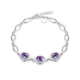 elos em forma de diamante para corrente Desconto Brinde de casamento em forma de diamante diamante bracelete 925 pulseira de prata JSPB494; Nova chegada menina mulheres prata esterlina banhado a cadeia de pulseiras