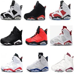 Wholesale Carmine Blue - Wholesale Air retro 6 Basketball shoes Hare Carmine White Infrared Black Cat sports blue Olympic Oreo Angry bull Olympic sports sneakers