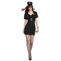 Uniforme feminino preto sexy on-line-Mulher do dia das bruxas trajes adultos senhoras de manga curta preto feminino oficial uniforme festa traje sexy