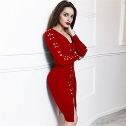 Wholesale Long Sleeve Red Leather Dress - 2018 Autumn Sexy Bandage Dress Knee Length Faux Leather Long Sleeve V Neck Lace Up Bodycon Suede Dress SW-050